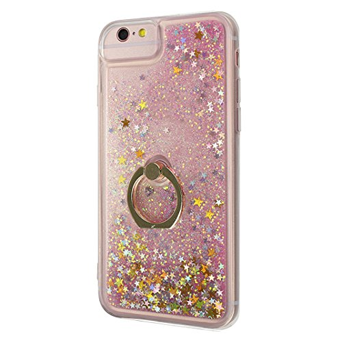iPhone 6/6S Hülle mit Ring Halterung Schale 4.7 Zoll, iPhone 6 Hülle Ring, iPhone 6S Flüssig Hülle mit Rotierendem Ring Fingerhalterung Ständer, Moon mood® Bumper Case für Apple iPhone 6/6S Durchsicht Muster 4