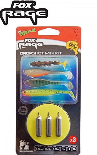 Fox Rage Dropshot Mini Kit 1m 0,27mm 5,15kg Gr. 4 - 3 Drop Shot Rigs zum Spinnfischen auf Zander & Barsch, Angelset für Barsche