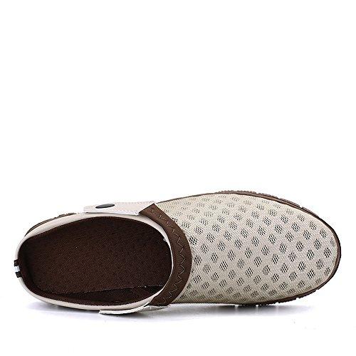 Bwiv chaussons légers pour homme et femme sabots de plage pantoufles avec bride des tailles 37-43 Beige clair avec bride marron