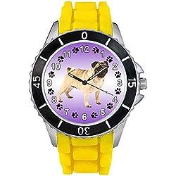 Pug Unisex Reloj para hombre y mujer con correa de silicona amarillo