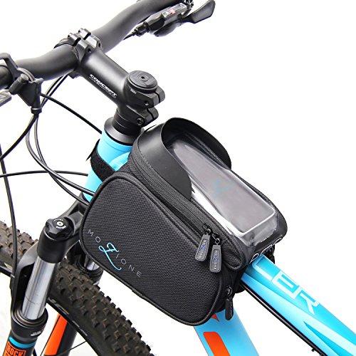 Mozione Rahmentasche Fahrrad mit Handyhalterung, Oberrohrtasche ideal für Kleinutensilien (1,2L) Fahrradtasche Wasserdicht Schwarz