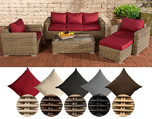 CLP Polyrattan-Lounge MADEIRA inklusive Polsterauflagen | Gartenmöbel-Set bestehend aus einem 3er-Sofa, zwei Sesseln einem Loungetisch und einem Hocker | In verschiedenen Farben erhältlich Bezugfarbe: Rubinrot, Rattan Farbe natura