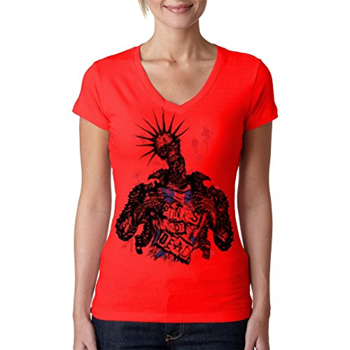 Gothic Fantasy Girlie V-Neck Shirt - Zombie: Punk's not dead! by Im-Shirt - Rot XL