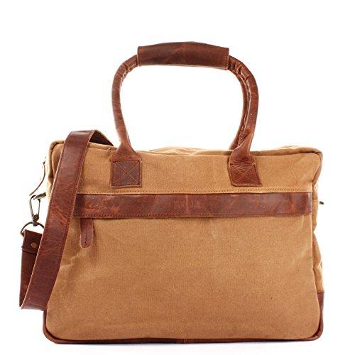 LECONI kleiner Weekender Rindsleder Canvas Handgepäck XL Shopper Damen Herren Arbeitstasche 40x30x15cm LE2007-C Cognac / Braun