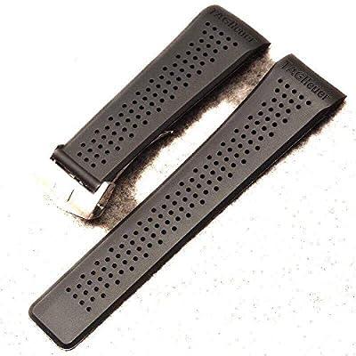 22/20mm correas de reloj negro y goma cierre de plata ajuste a TAG Heuer encajes