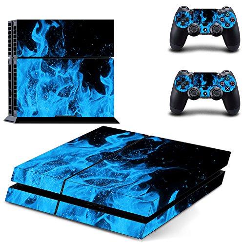 Morbuy PS4 Skin Design Folie Aufkleber Sticker schützende Haut Schale für Sony Playstation 4 Konsole und 2 Dualshock Controller Skins (Blau Feuer)