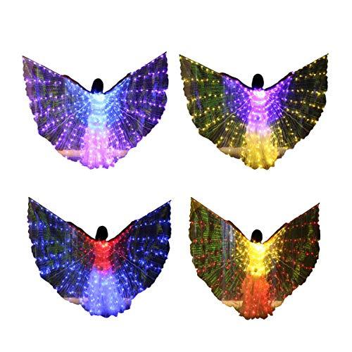 Farbwechsel Kostüm Tanz - Bldance 4 in 1 Isis Flügel LED Farbverändernde Tanz Flügel Performance mit Teleskopstöcke (Mehrfarbig)