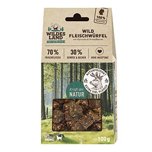 Wildes Land Fleischwürfel Wild   100 g   Kausnack für Hunde   70% Frischfleisch   30% Gemüse & Beeren   Natürlich belohnen   getreidefrei   Hohe Akzeptanz   Frisches, schonend - Hühner Futter Napf