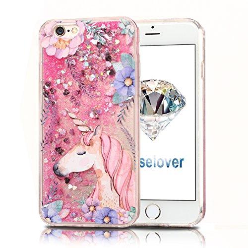 Coque iPhone 6s , Glitter Liquide TPU Etui Coque pour iPhone 6 , CaseLover Licorne et Fleur Motif Mode Etui Coque Dynamic Etoiles Paillettes Sable TPU Slim pour Apple iPhone 6 / 6S (4.7 pouces) Mode F Rose