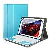 Besmall kompatibel mit 10 Zoll Tablet Bluetooth Tastatur und PU Leder Schutz Hülle mit Standfunktion mit Tablet Samsung Galaxy Tabs (9,6/ 9,7/ 10,1 Bildschirm, Blau)