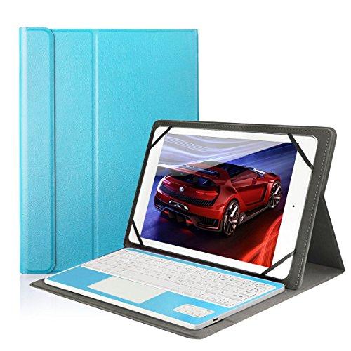 Besmall kompatibel mit 10 Zoll Tablet Bluetooth Tastatur und PU Leder Schutz Hülle mit Standfunktion mit Tablet Samsung Galaxy Tabs (9,6/ 9,7/ 10,1 Bildschirm, Blau) -