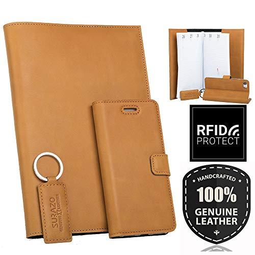 SURAZO Leder Geschenkset - Handy Schutzhülle, Kalender, Schlüsselring aus Echtesleder Vintage Farbe Orange für Samsung Galaxy Note 4 (N910)