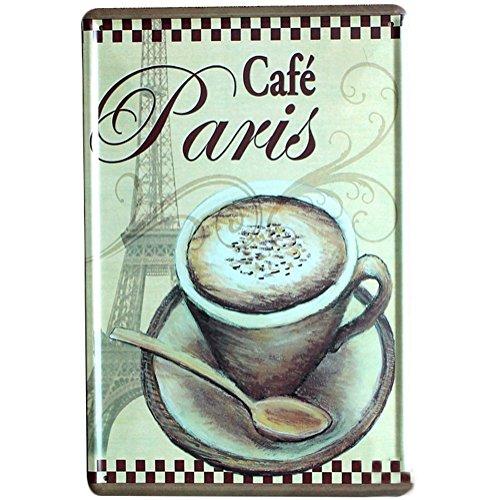 fee Türschild Vintage Metall Zeichen Wandposter von Coffee Cup mit Wort 'Cafe Paris' Kaffee Motive für Cafe Restaurant, Bar Sprüche Serie size 20*30.0CM ()