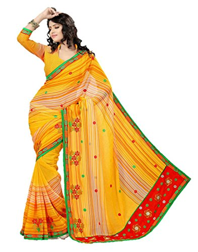 Sharda Sarees Chiffon Saree (Yellow) with Blouse Piece