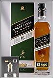 Johnnie Walker Green Label 15 Jahre Blend Malt Whisky mit einem Flaschenportionierer aus Echtglas, kostenloser Versand