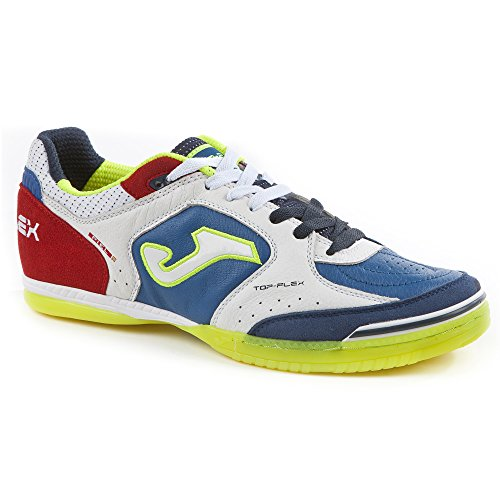 Joma TOP FLEX 716 Indoor - Scarpe Calcetto Uomo - Men's Futsal Shoes - TOPW.716.IN (43, bianco-royal-rosso)