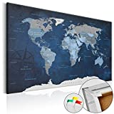 murando - Weltkarte Pinnwand 120x80 cm - Bilder mit Kork Rückwand - 1 teilig - Leinwandbilder - Korktafel - Fertig Aufgespannt - Wandbilder XXL - Kunstdrucke - WeltKarte Welt Karte Kontinente k-A-0086-p-b