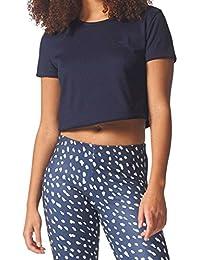 T-Shirt adidas – Crop bleu/blanc taille: 38 S (Small)