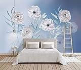 HONGYUANZHANG Weiße Schöne Blume Tapete Des Foto-3D Künstlerische Landschafts-Fernsehhintergrund-Tapete,68Inch (H) X 100Inch (W)