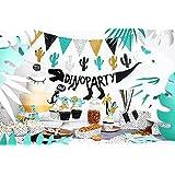 XXL Party Deko Set 1.Geburtstag Kindergeburtstag Dino blau türkis Dinosauria für 6 Personen (67 teilig)