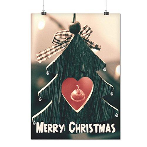 Fröhlich Baum Liebe Weihnachten Lustig Zeit Mattes/Glänzende Plakat A4 (30cm x 21cm) | (Männer Fröhliche Kostüm)