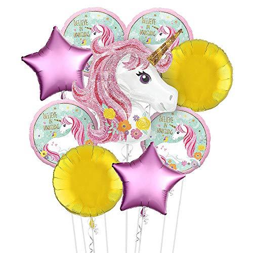 Globo de unicornio con diseño de arcoíris para fiestas y fiestas de cumpleaños infantiles, globos de helio decorativos, paquete de 9 unidades (rosa)