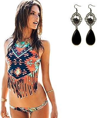 Sitengle Para Mujer Bañador Traje de Baño Multicolor Push Up Atractivo Bikinis Halter Conjuntos Ropa de Baño Etnico Beachwear Swimsuit Swimwear dos Piezas con Tassel