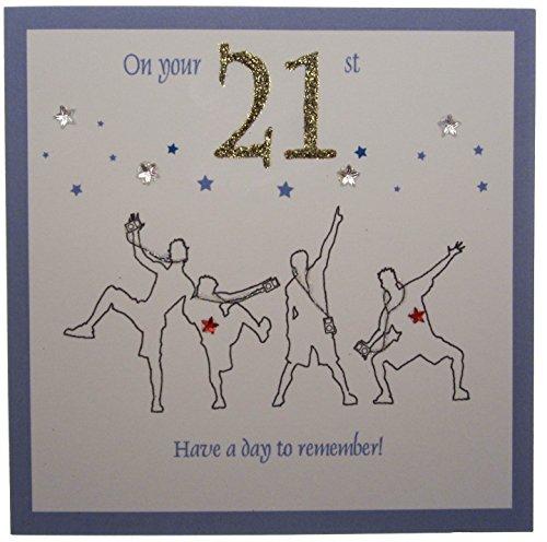 White Cotton Cards 1 pezzo Il 21st un biglietto giorno da ricordare sono fatti a mano, blu e i ballerini di strada