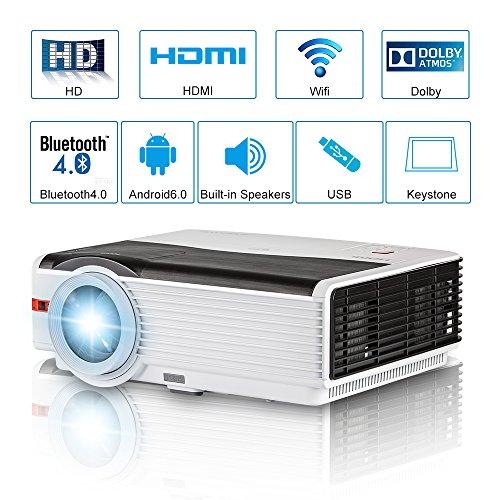 Proiettore Bluetooth Android LCD 2018 Proiettore Home Cinema intelligente da 5000 Lumen LED Multimedia senza fili Bluetooth Proiettore da esterno Bluetooth per videogiochi HDMI/USB/VGA/AV/Audio