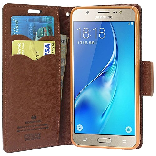FUSON Mercury Fancy Diary Wallet Flip Cover for Samsung Galaxy J2,(Black & Brown)