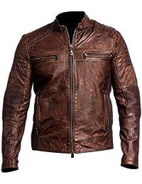 Leatherly Veste Homme Cafe Racer Marron Affligé Vintage Moteur à moto ciré  qualité Genuine à la be013ec7250