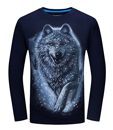 Angcoco Men's Long Sleeve Professional 3D Digital Print T Shirts - Snow Wolf Navy