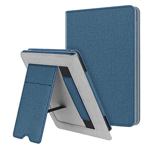 Fintie Hülle kompatibel für Kindle Paperwhite (10. Generation - 2018 / alle Generationen) - Kickstand Schutzhülle mit Kartenfach Handschlaufe & Auto Sleep/Wake Funktion, Blaue St&e