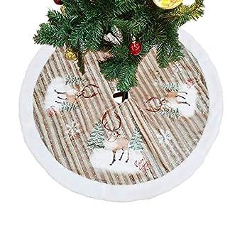 ShiyiUP Falda de Árbol de Navidad Blanco Decoración Felpa para Papá Noel