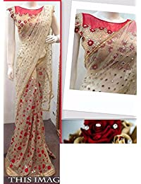 Isha Enterprise Women's Net Cream And Red Multi Work Designer Saree