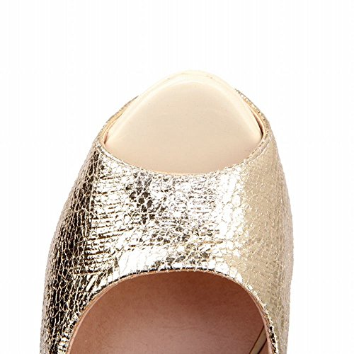 Mee Shoes Damen modern reizvoll populär Stiletto Peep- toe ohne Verschluss Plateau Pumps Party-Schuhe Gold