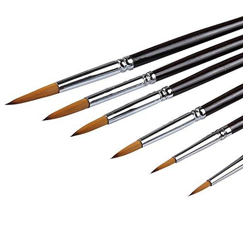Künstler Pinsel-Top Qualität Rot (Wiesel Haar) lang Griff, rund, spitz Pinsel-Set für Acryl, Öl, Gouche und Aquarellzeichnung - Red Pinsel Sable