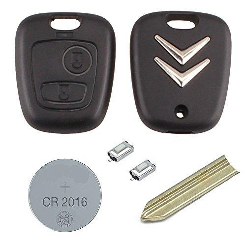RKFUK® - Kit de remplacement de clé télécommandée à 2boutons pour Citroën - Lame SX9 - Micro-commutateurs - Pile CR2016