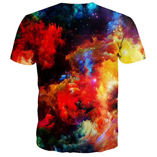 Syaimn Unisex 3D Pattern Print Kurzarm T-Shirts Beiläufige Grafik T-Shirts Colored cloud