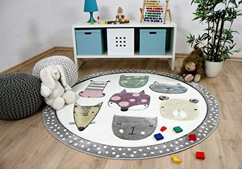 Pergamon Maui Kids - Tapis pour Enfant Rond - Happy Animals coloré - 3 Tailles Disponibles