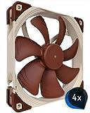 4 x Noctua NF-A14 FLX (BUNDLE) Leise 140x140x25mm Hochleistungs-Gehäuselüfter, 3 pin Molex, hoher Luftdurchsatz, low noise, Computer-Einbau da Standard-Gehäuse