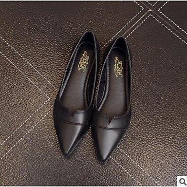 SHOESHAOGE Chaussures Femmes De Confort Appartements Printemps Pu Talon Plat Pour Amande Gris Noir Casual Black