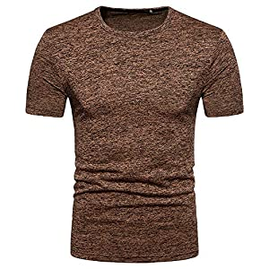 EUZeo Herren Casual Einfarbig Striped T-Shirts Slim Fit Kurzarm Sportlich Tees Tops Rundausschnitt Hemden