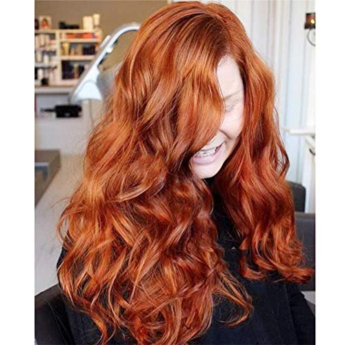 ANWIGS Lace Front Lange Welle Perücken zum Frau Ombre Orange rot Synthetik Haar Halloween Kostüme Cosplay Party Haar Perücken + Perücke Deckel 26