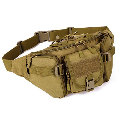 Tactical marsupio portatile marsupio da esercito Outdoor marsupio militare marsupio per ciclismo campeggio escursionismo caccia pesca, Jungle Digital Brown
