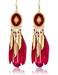 Tiaraz Antique Gold Plated Long Stylish Feather Earrings For Women Traditional