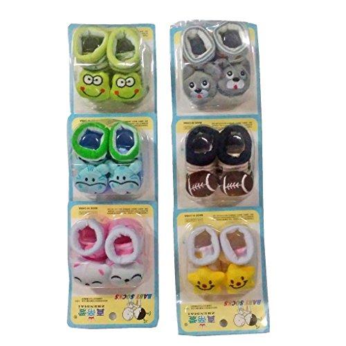 Baby Basics - Born Baby Fancy Cartoon Face Socks cum Shoes ( Random Design / Color ) Set Of 6 Pair