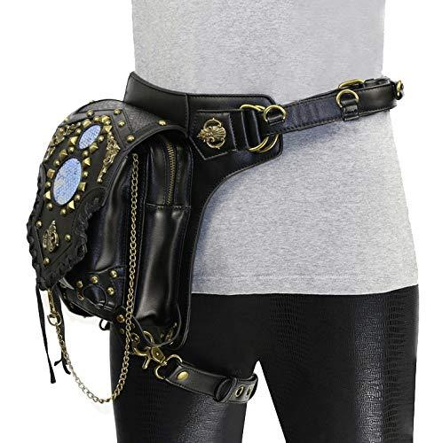 Aihifly Sac de Taille de Jambe Steampunk Pack Ceinture de Hanche Fanny Messenger Bag Crossbody Multifonctionnel Sac Multifonctionnel à la Taille pour Femmes