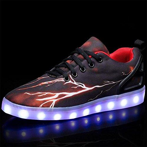 Jungen-Art und Weise LED-helle Schuhe beleuchtende beiläufige flache Schuhe sieben Farben ändern und elf Arten des blinkenden Modus , two , 39 (Nike Shox Damen Weiß)