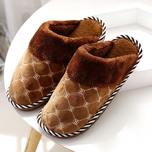 DogHaccd pantofole,Giorno di autunno e inverno paio di pantofole di cotone felpato cartoon-pavimento pulito pantofole home scarpe caldo Il caffè4